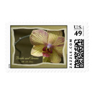Yellow Orchid Wedding Postage Stamps
