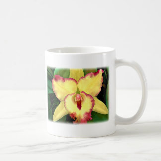Yellow Orchid with Red Ruffles Classic White Coffee Mug