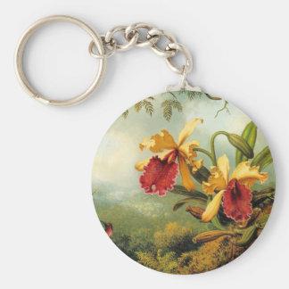 Yellow Orchids Basic Round Button Keychain