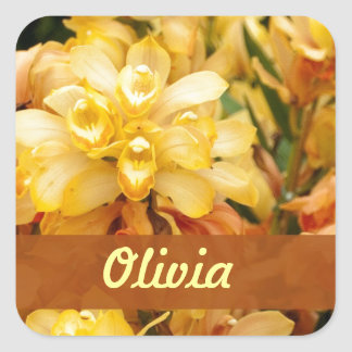 Yellow Orchids Custom Name! Square Sticker
