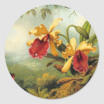 Yellow Orchids Round Stickers
