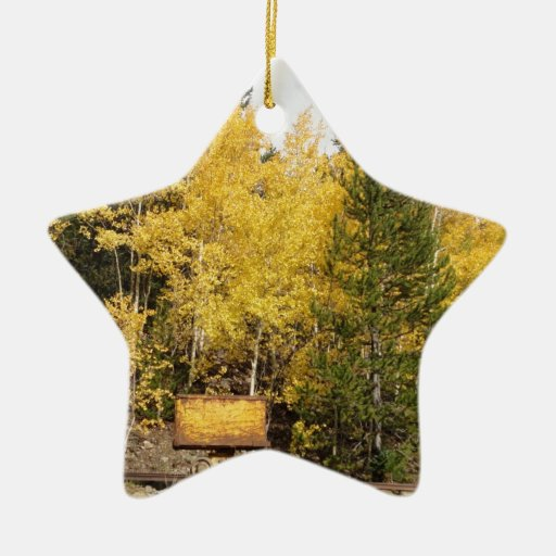 Yellow ore cart double sided star ceramic christmas
