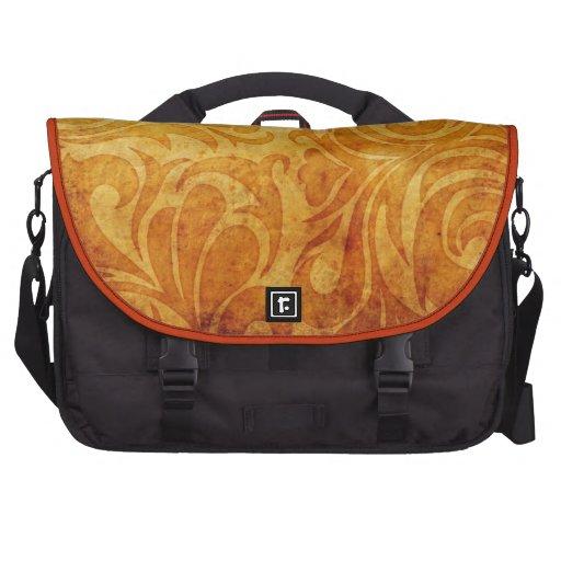 yellow ornate swirl pattern laptop messenger bag