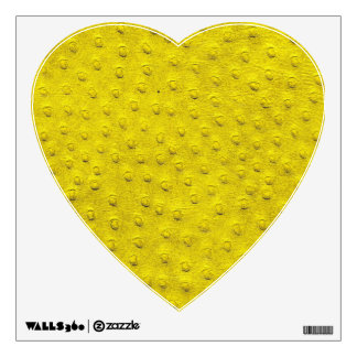 Yellow Ostrich Leather Print Heart Wall Decal