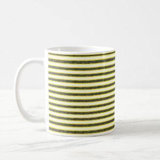 Yellow Outlined Static Black Stripes Coffee Mug