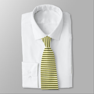 Yellow Outlined Static Black Stripes Tie