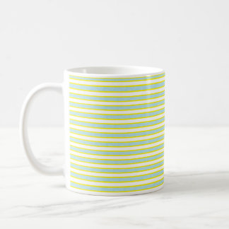Yellow Outlined Static Pastel Blue Stripes Coffee Mug