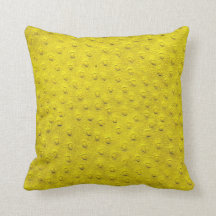 Yellow Oversized Ostrich Leather Grain Pillow