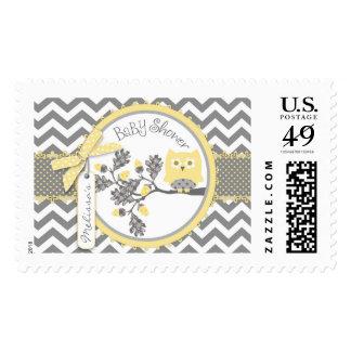 Yellow Owl and Chevron Print Baby Shower Stamp