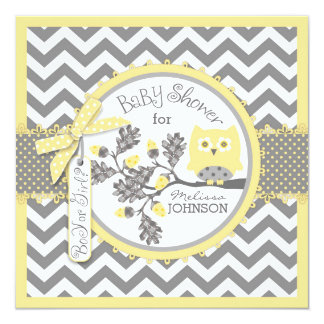 Yellow Owl and Chevron Print Gender Reveal Party Card