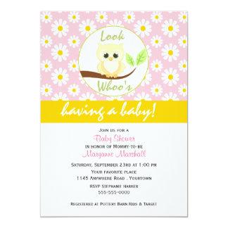 Yellow Owl and Daisy Print Baby Shower Invitation