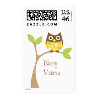 Yellow Owl Baby Postage Stamp