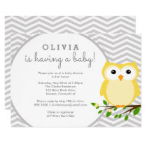 Yellow Owl Baby Shower, Grey Chevron Card