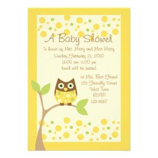 Yellow Owl Baby Shower Invitation