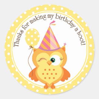 Yellow Owl Birthday Thank You Classic Round Sticker