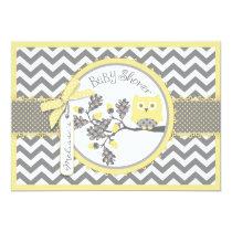 Yellow Owl Chevron Print Baby Shower Card