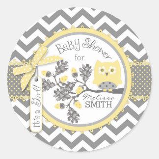 Yellow Owl Chevron Print Baby Shower Classic Round Sticker