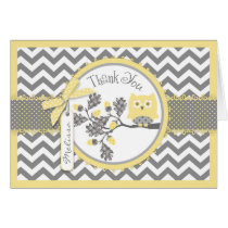 Yellow Owl Chevron Print Thank You Card