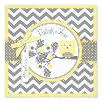 Yellow Owl Chevron Print Thank You Card