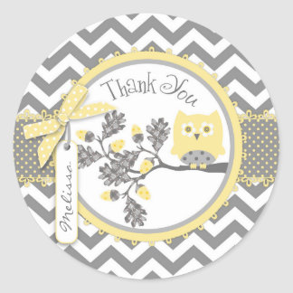 Yellow Owl Chevron Print Thank You Label