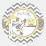 Yellow Owl Chevron Print Thank You Label Classic Round Sticker