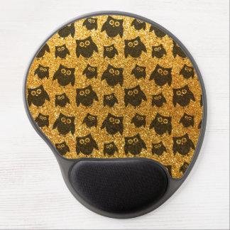 Yellow owl glitter pattern gel mouse pads
