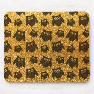 Yellow owl glitter pattern mouse pads
