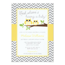 Yellow Owl Gray Chevron Baby Shower Card