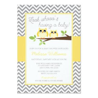Yellow Owl Gray Chevron Baby Shower Card