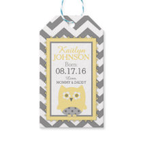 Yellow Owl Grey White Chevron Baby Shower Gift Tags