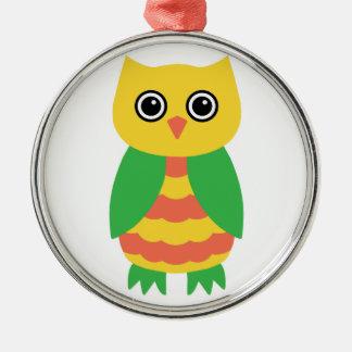 Yellow Owl Metal Ornament