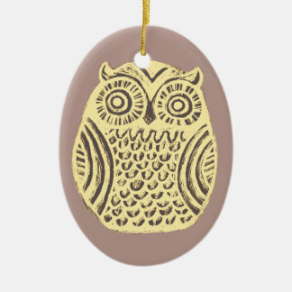 yellow owl ornament