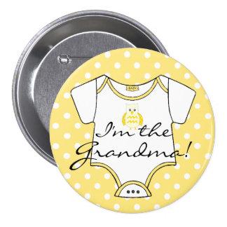 Yellow Owl with White Polka Dots I'm The Grandma Pinback Button