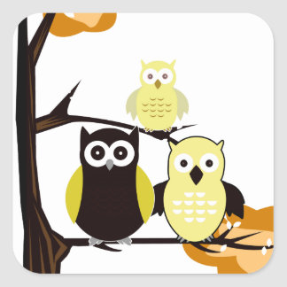 Yellow Owls Stickers