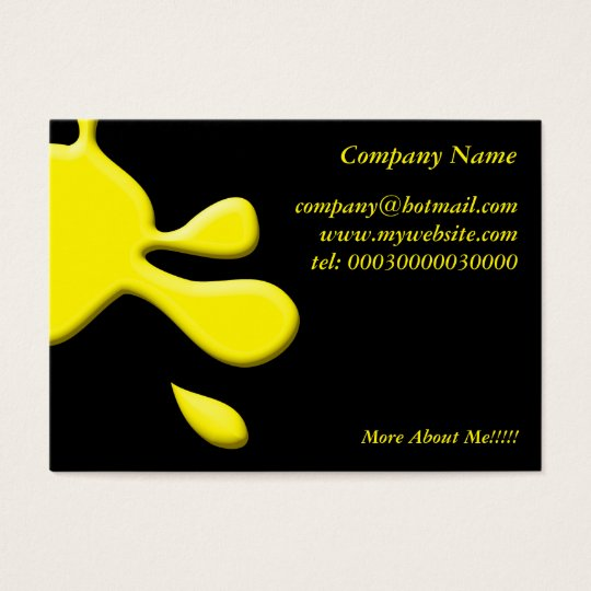 Yellow Paint Splodge Business Card
