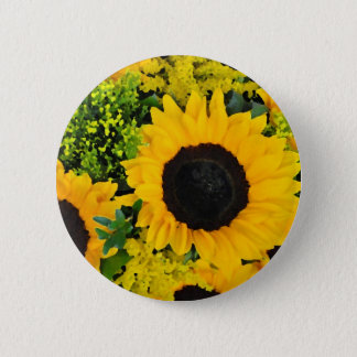 Yellow painted sunflowers pinback button