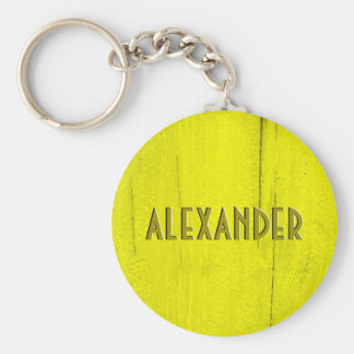 Yellow Painted Wood Faux Carved Name Keychain