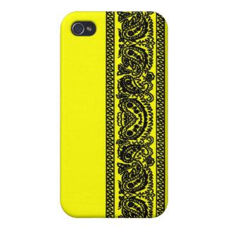 Yellow Paisley Bandana iPhone 4 Case
