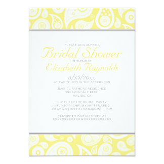 Yellow Paisley Bridal Shower Invitations