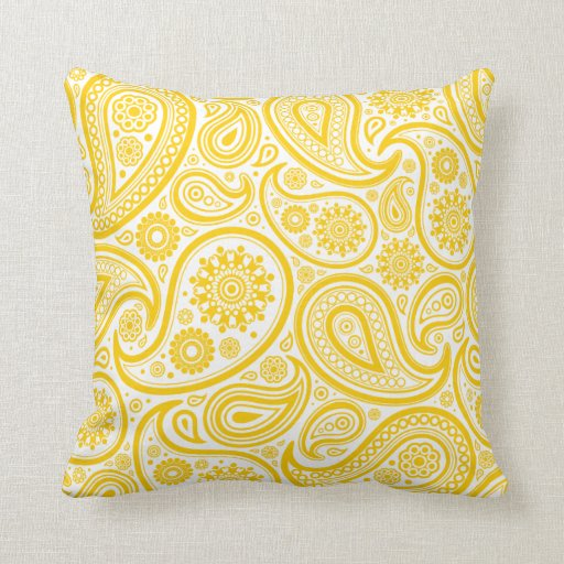 Yellow Paisley Floral Pattern Pillow