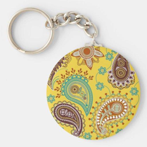 Yellow Paisley Key Chains