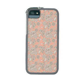 Yellow Paisley on Peach iPhone 5/5S Cover
