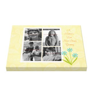 Yellow paisley photo collage canvas for Mom. By Carla Schauer Designs on Zazzle