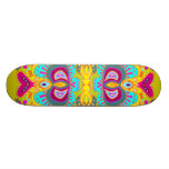 Yellow Paisley Pink Heart Kaleidoscope Skateboard Deck