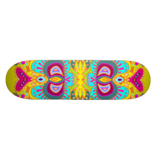 Yellow Paisley Pink Heart Kaleidoscope Skateboard Deck
