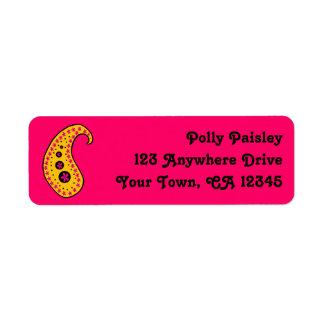 Yellow Paisley Return Address Label