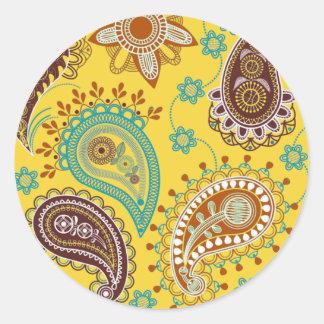 Yellow Paisley Round Sticker