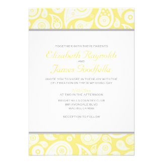 Yellow Paisley Wedding Invitations Announcements