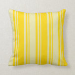 [ Thumbnail: Yellow & Pale Goldenrod Lined Pattern Throw Pillow ]