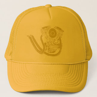Yellow Panhead with Pipes Trucker Hat